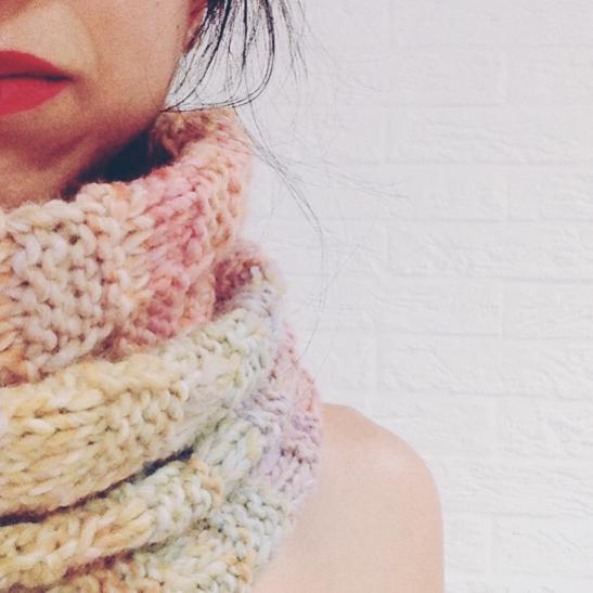 Cuello lana doble punto damero