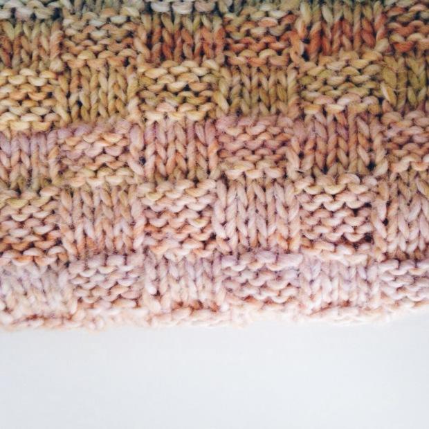 Cuello doble lana punto damero