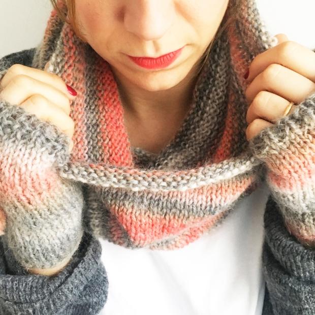 Mitones y cuello lana patron gratuito